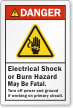 Electrical Shock Burn Hazard, May Be Fatal Label