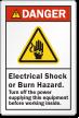 Electrical Shock Or Burn Hazard ANSI Danger Label