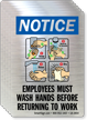 Employees Wash Hands Before Returning Work Mirror Decal