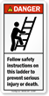 Follow Safety Instructions On Ladder ANSI Danger Label