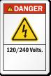 120/240 Volts ANSI Danger Label