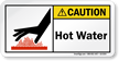 Hot Water ANSI Caution Label With Graphic
