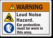 Loud Noise Hazard Wear Ear Protection Warning Label