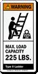 Max. Load Capacity 225 LBS. ANSI Warning Label