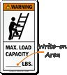 Max. Load Capacity (Write-On Area) ANSI Warning Label