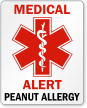 Medical Alert Peanut Allergy Label