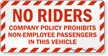 No Riders Company Policy Vehicle Label