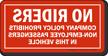 No Riders Company Policy Vehicle Mirror Image Label