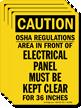 OSHA Regulations, Electrical Panel Kept Clear Label