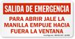 Spanish Emergency Exit Label