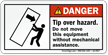 Tip Over Hazard, Use Mechanical Assistance Label