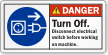 Turn Off Electrical Switch Before Working Danger Label