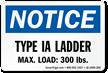 Type IA Ladder, Max Load: 300 LBS Label