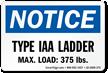 Type IAA Ladder, Max Load 375 LBS Label