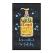 Wash Clean Sanitize Protect Committed to Safety Message Mat vertical