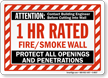 1 Hour Fire And Smoke Wall Sign
