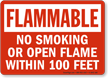 No Smoking Within 100 Feet Flammable Sign
