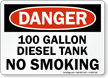 100 Gallon Diesel Tank No Smoking Sign