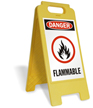 Danger Flammable with Graphic Free-Standing Sign