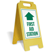 First Aid Station with Arrow Free-Standing Sign