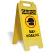 Caution Men Working W/Graphic Fold-Ups® Floor Sign