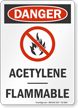 Acetylene Flammable OSHA Danger Sign