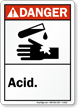 Danger (ANSI): Acid (with graphic)