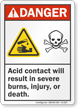 Acid Contact Will Result In Severe Burns Danger Sign