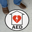 Circular Automatic External Defibrillator Floor Sign