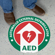 AED with Defib Heart, Green Border Floor Sign