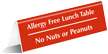 Allergy Free Lunch Table No Nuts Peanuts Tent Sign