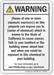Apartment Exposure Prop 65 Sign
