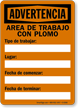 Spanish OSHA Warning Lead Work Area Sign