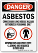 OSHA Danger Asbestos Cancer Lung Hazard Sign
