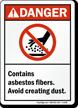 Danger (ANSI): Contains Asbestos Fibers Sign