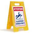 Attention Slippery When Wet Floor Standing Sign