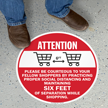 Attention Stay Six Feet Apart While Shopping