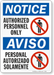 Bilingual Authorized Personnel Personal Autorizado Sign