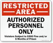 Restricted Area - Authorized Personnel Only Sign