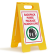Backpack Purse Package Search FloorBoss Sign