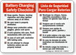 Bilingual Battery Charging Safety Checklist Sign