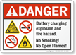 Battery Charging Explosion Hazard ANSI Danger Sign