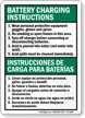 Bilingual Battery Charging Area Sign