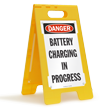 Danger Battery Charging in Progress Fold-Ups® Floor Sign