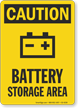 Battery Storage Area OSHA Caution Sign