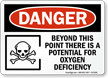 Beyond This Point Potential For Oxygen Deficiency Sign