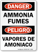 Bilingual Ammonia Fumes Sign