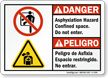 bilingual Asphyxiation Hazard Confined Space Sign