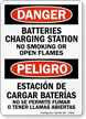 Bilingual Batteries Charging Station No Smoking Sign