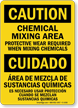 Chemical Mixing Area Protective Wear Required Bilingual Sign